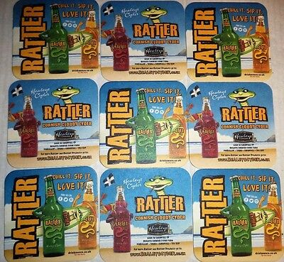 Healeys Cornish Cyder Farm Rattler Bundle Of 9 Beer Mat Cider Coasters Brand New