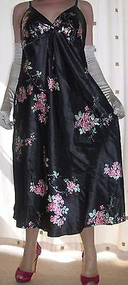 Lovely black satin floral print  full slip~chemise~nightie~gown size medium