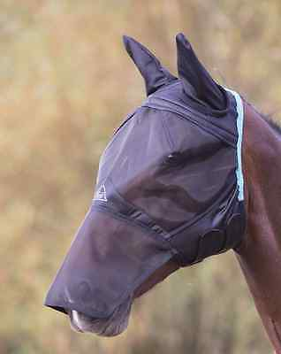Shires Fine Mesh Fly Mask With Ear & Nose - Black - Cob - 6665