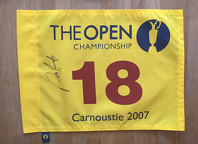Padraig HARRINGTON Signed Carnoustie 2007 Open Golf Flag Autograph AFTAL COA