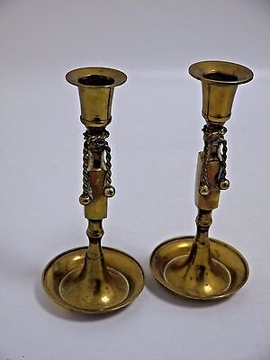 Pair of brass candle stick holders (SM25)