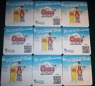 Joblot Of 9 Coors Light Lager Beer Mat Coasters