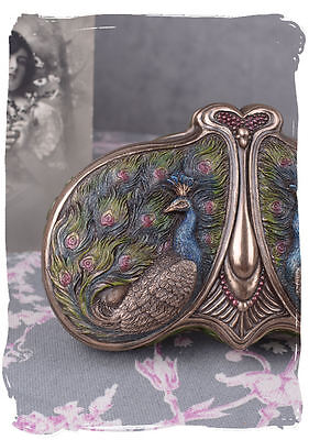 Antique Jewelry Box PEACOCK JEWELLERY BOX Art Nouveau Covered Dish Box