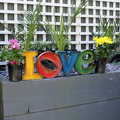"""Colourful Metal """"Love Sign"""" Planter Modern Design Suitable for Outdoor/Indoor"""