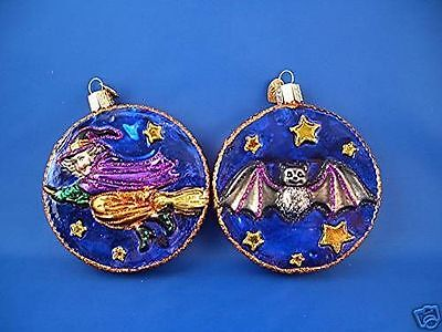 Witch & Bat Old World Christmas Ornament Glass Blown Tree Halloween 26059