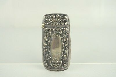 "Antique 2-1/2"" Victorian Era Repousse Sterling Silver Floral Match Safe"