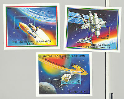 Sierra Leone #1075-1077 History of Space Exploration, 3v. imperf proofs S/S