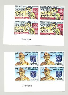 Djibouti #C163-C164 Boy Scouts 2v Imperf Date Blocks of 4