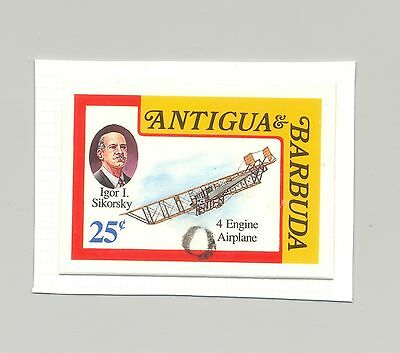 Antigua 1993 Sikorsky, Aviation, 1v imperf chromalin proof, mounted on card