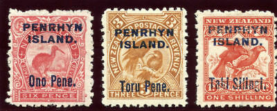 Cook Islands Penrhyn 1903 KEVII set complete MLH. SG 14-16a. Sc 10-12.