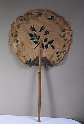 Antique 19thC Victorian Era Roses Hand Held Fire Screen Fireplace Hearth Fan