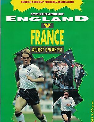 ENGLAND v FRANCE SCHOOLS @WEMBLEY 10th March 1990 Fully autographed both teams