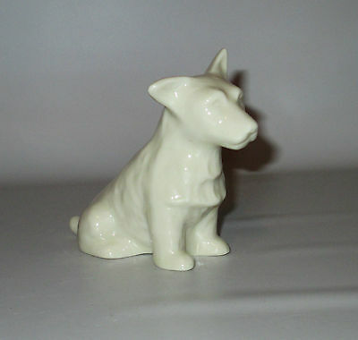 "Belleek Porcelain Terrier Scotty Dog Figurine 7th Gold Mark 3 1/2"" Ireland"