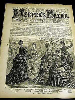 Harper's Bazar August 22 1874 w Rare PATTERN Supplement - Ladies Suits Dresses