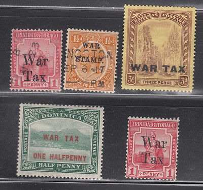 """British Colony """"war Stamps"""" Overprinted 4 Different Mint Hinged & 1 Used"""