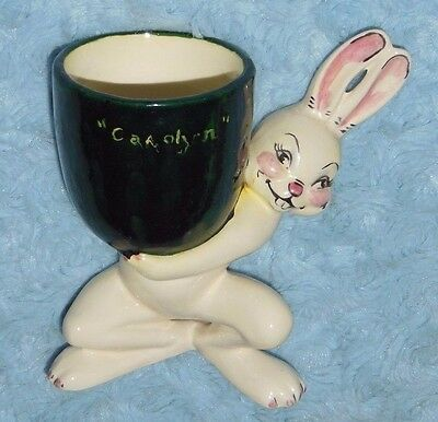 "Vintage Hand Painted Ceramic Bunny Rabbit Egg Cup 1953 ""Carolyn"" VGC"