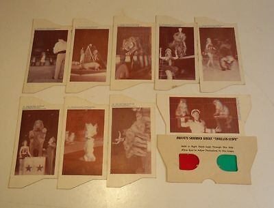 1950's THRILLER-SCOPE 3-D Viewer & 9 Cards MUFFETS SHREDDED WHEAT Polack Circus