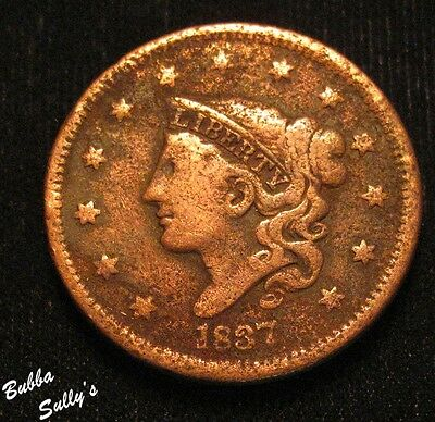 1837 Coronet Head Large Cent <> F Details
