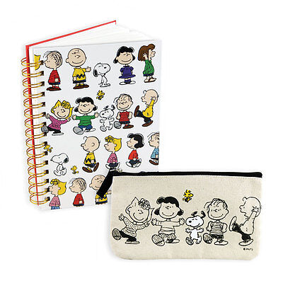 NEW (Set) PEANUTS Zip Canvas Pencil Case Pouch And 160 Page Spiral Bound Journal