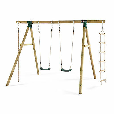 Plum® Gibbon Wooden Swing Set With Climbing Rope and Ladder