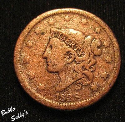 1838 Coronet Head Large Cent <> F Details