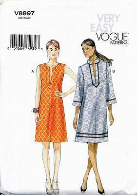 Vogue Sewing Pattern 8897 Misses Sz 16-26 Easy Loose-Fitting Dress In Plus Sizes
