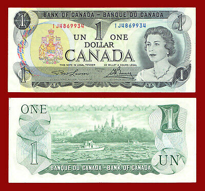 """1973 Canada One Dollar """"almost Uncirculated"""" $1 Note 9934"""