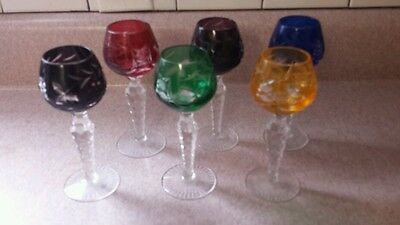 6 Crystal Colored Cut To Clear Czech Bohemian Stemware Multi Color Vintage