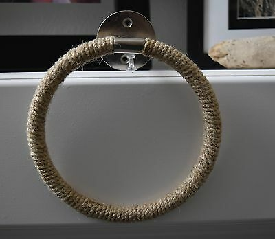 Jute Rope Wrapped Towel Ring Holder - Industrial Nautical Home Decor - Metal