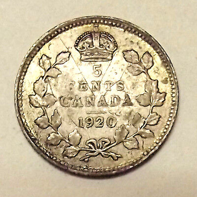 1920 Canada Five Cents Silver Coin