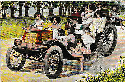 [Lots of children in old car] - old post card