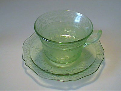Vintage 1930's Green Patrician Spoke Cup & Saucer - Depression Glass