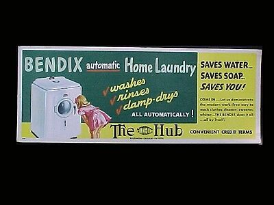 1940 Bendix Washing Machine Poster Little Girl Looking in Window Colorful BaltMD