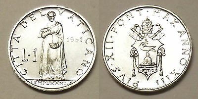 "1951 Vatican City 1 Lire ""uncirculated"" Coin"