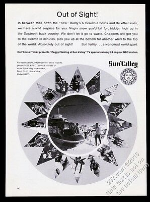 1970 Sun Valley ski area helicopter skiing photo vintage print ad