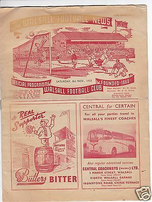 Walsall Reserves  V   Bedworth Town  Birmingham Lge  8/11/58
