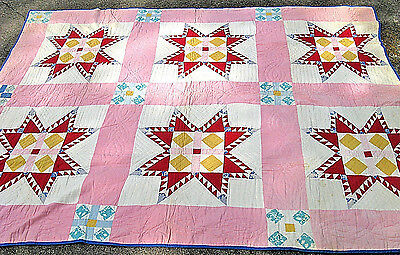Vintage SQUARES in STARS Quilt  ALL COTTON  PINK and RED Hand Made BEAUTIFUL