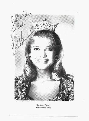 Miss Illinois Kathleen Farrell 1992 Black and White Signed Picture Print