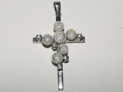 Unusual, Antique, Sterling Silver Cross Pendant With Rock Crystal/white Sapphire