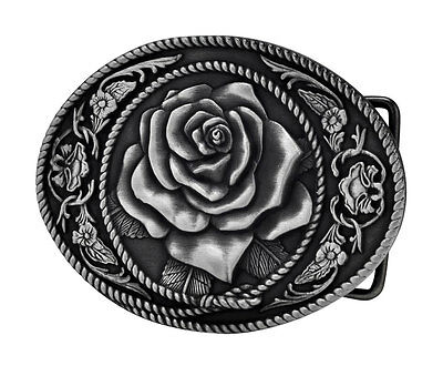 SILVER Vintage Rose Belt Buckle Flower Girly Western Country Metal Unique