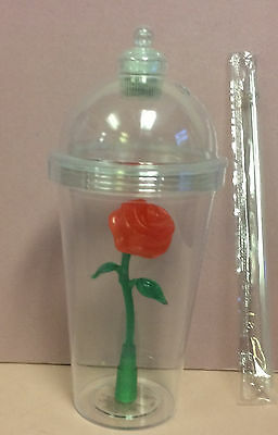 Disney Parks Beauty & Beast Enchanted Light Up Rose Souvenir Sipper Cup Tumbler