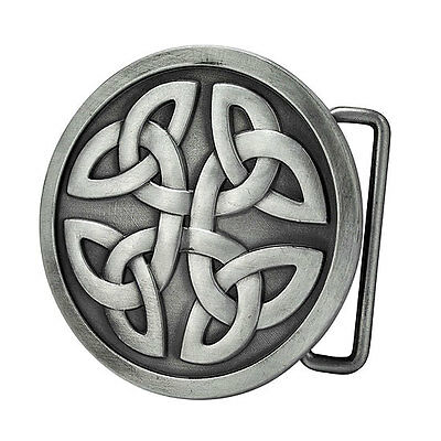 Celtic Cross Knot Mystic Circle Metal Belt Buckle Silver Triquetra Gothic Irish