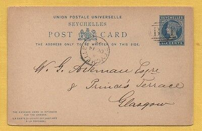 Seychelles 1894 COMPLETE 6c REPLY CARD to GLASGOW, B64 OVAL CANCEL