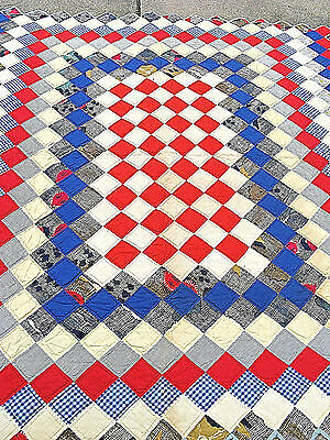 Vintage  TRIP AROUND THE WORLD  Quilt  ALL COTTON   Hand Made BEAUTIFUL