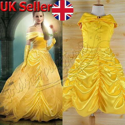 UK Belle Costume Kids Girl Beauty and The Beast Princess Halloween Fancy Dress