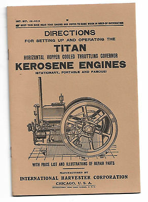 Reprint of 1915 INTERNATIONAL HARVESTER TITAN Kerosene Engine Manual 2