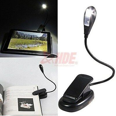 LED Reading Lamp Clip with Flexible Neck Bright LED Book or eReader Battery PWR