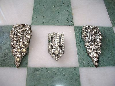 A Pair Of Art Deco Paste Clasps + A Single Example