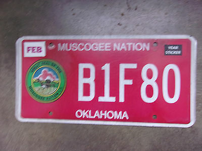 Oklahoma 'Muscogee Nation' Indian Tribe License Plate B1F80 Used Decent