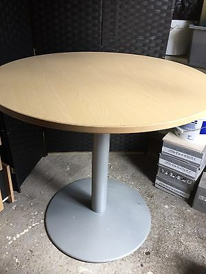 Oak Round 1m Office Meeting Room Table With Metal Base Height Adjustable